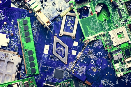 Motherboard circuit eletronic component part Stockfoto