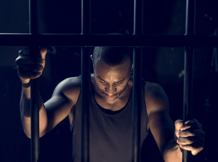A man arrest in the jail Stockfoto
