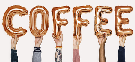 Hands showing coffee balloons word