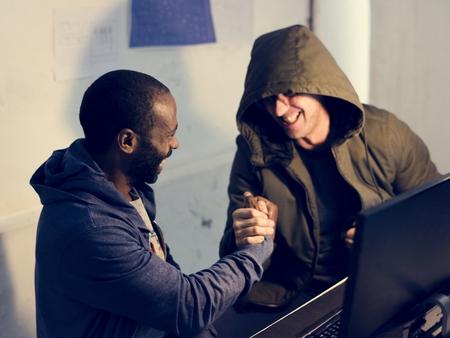 Hacker team success hacking identity information on the internet Stock Photo
