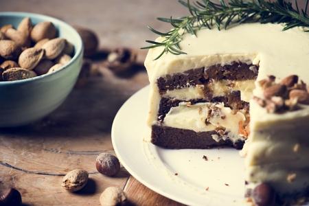 Homemade carrot cake food photography recipe idea Stock Photo