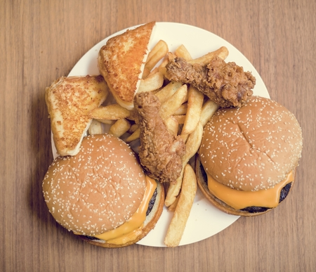 Fattening and unhealthy fast food Banco de Imagens