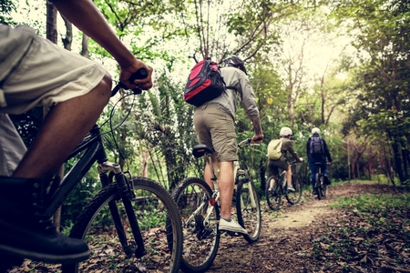 Group of friends ride mountain bike in the forest together Stock Photo