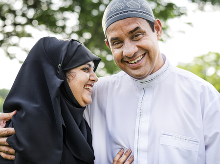 Sweet Muslim husband and wife Stock Photo