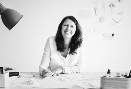 Caucasian designer creating a new design
