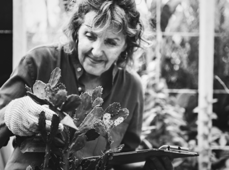 Woman arranging flowers in a greenhouse