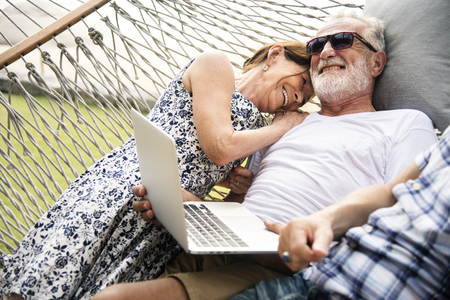 Senior couple relaxing in a hammock