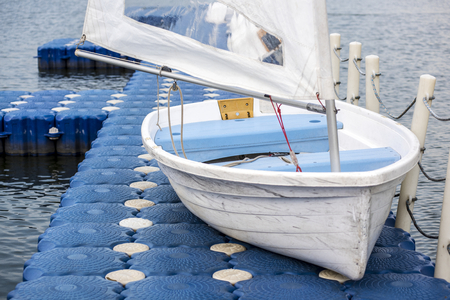 Closeup of boat on a dock Stock Photo