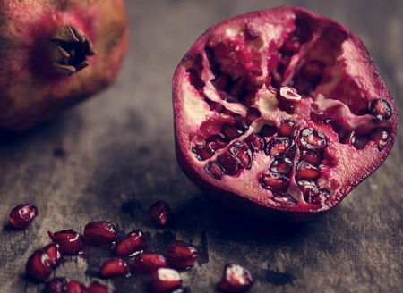 Fresh pomegranate food photography recipe idea 스톡 콘텐츠