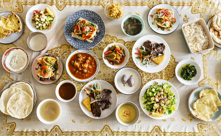 Dishes for a Ramadan feast 스톡 콘텐츠