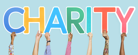 Colorful letters forming the word charity