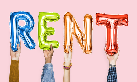 Colorful alphabet balloons forming the word rent Standard-Bild - 107196695