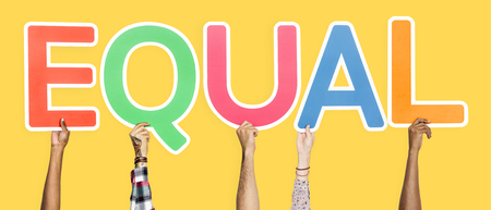 Colorful letters forming the word equal Stock Photo