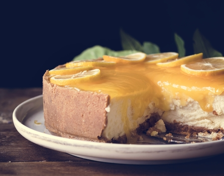 Lemon chessescake food photography recipe idea Stockfoto