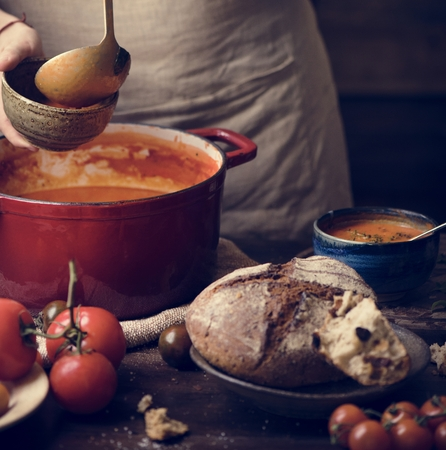 Serving tomato soup food photography recipe idea