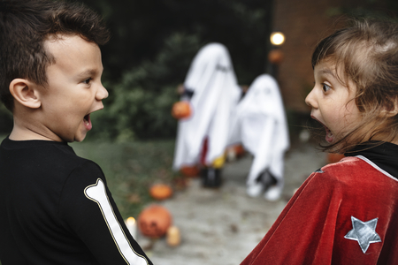 Scared little kids at Halloween