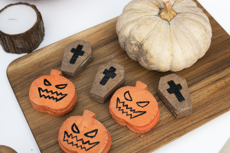 Festive and cute Halloween cookies Stock Photo