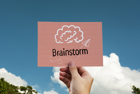 Brainstorm written on a card