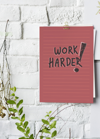 Work harder poster on white wall