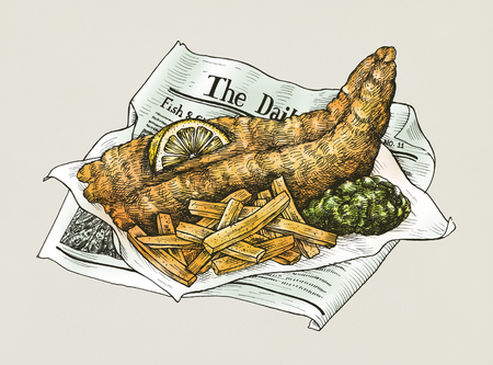 Hand drawn fish and chips