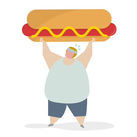 Obese person with hotdog