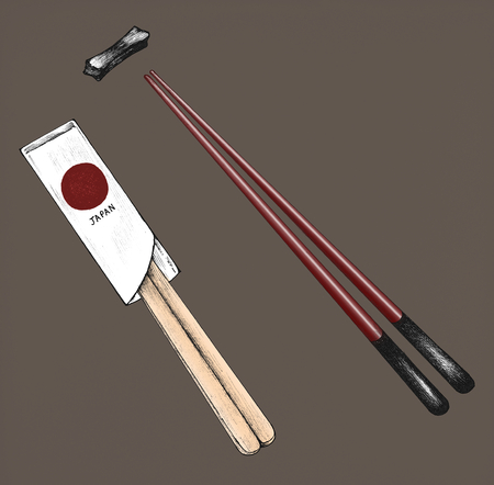 Hand drawn pairs of chopsticks