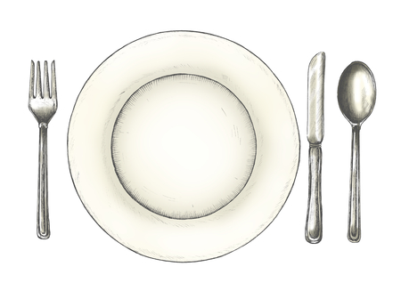 Hand drawn table setting