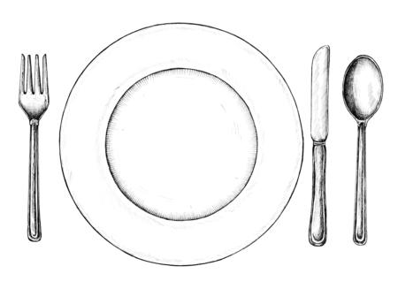 Hand drawn table setting