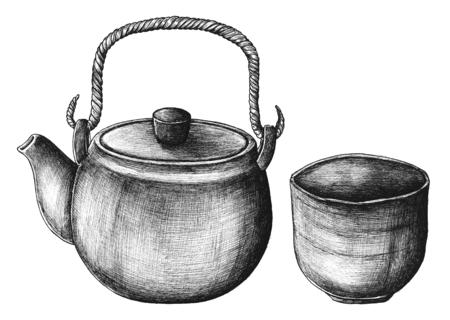 Hand drawn green tea set Reklamní fotografie