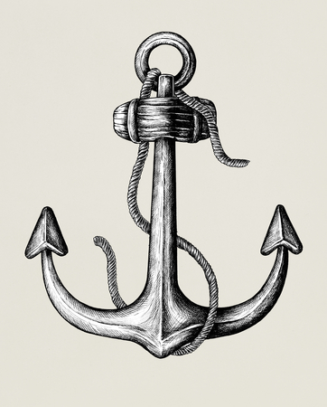 Hand drawn metal shank anchor Stockfoto