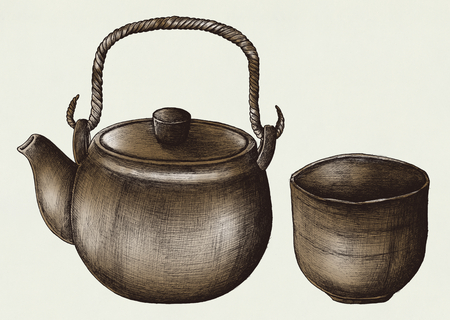 Hand drawn green tea set Banco de Imagens