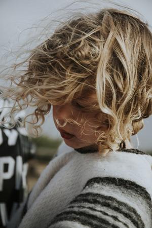 Wind blowing a girls hair 版權商用圖片