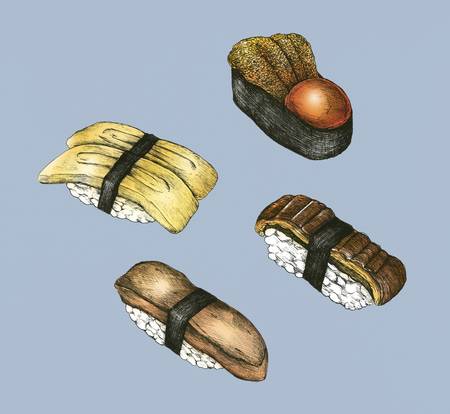 Hand drawn sushi set Japanese food