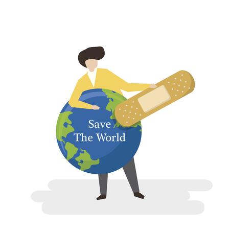 Rette das Weltkonzept Standard-Bild
