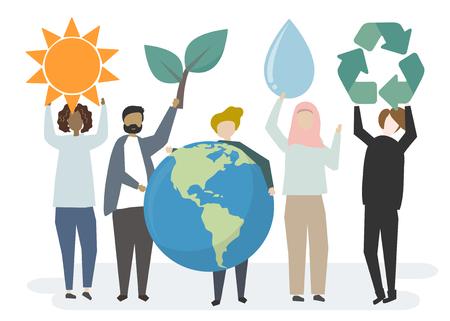 Multiethnische Menschen mit Ökologiekonzept