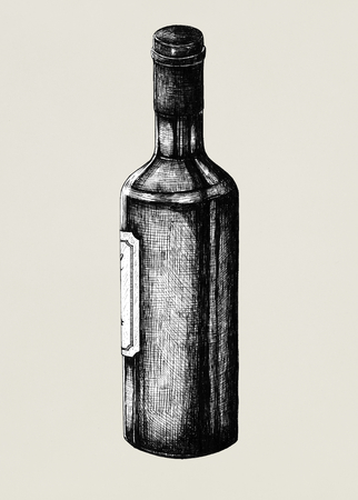 Hand drawn wine bottle isolated Stock Photo