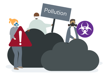 Biohazards and air pollution concept