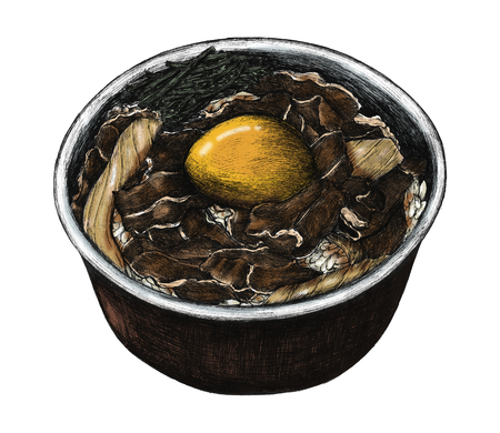 Hand drawn gyudon Japanese beef bowl 写真素材 - 108610534