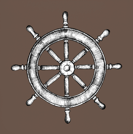 Hand drawn ship wheel Stock fotó - 108610543