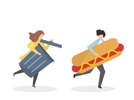 Hotdog chasing by a trash can