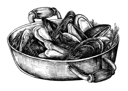 Hand drawn cooked mussels Stockfoto - 108397450