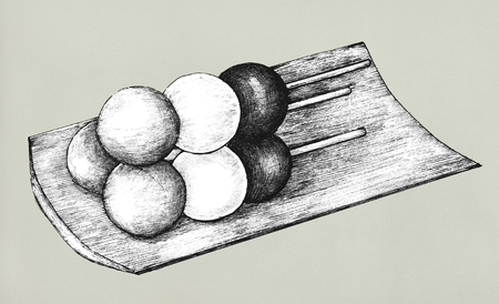 Hand drawn dango Japanese dumpling Stock Photo