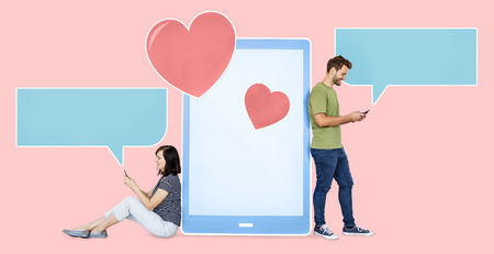 Couple texting loving messages to each other
