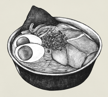 Hand drawn ramen Japanese dish