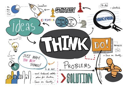 Think sketch illustration Banco de Imagens