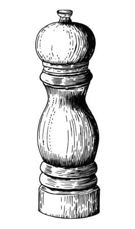 Hand drawn pepper mill Stok Fotoğraf