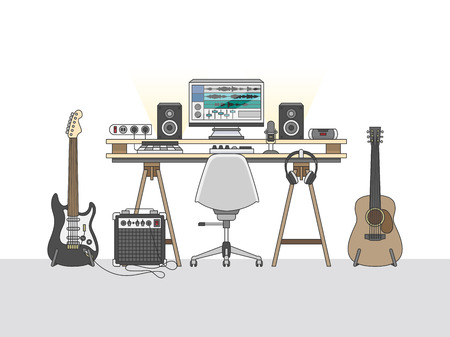 Workspace of an audio engineer or a music producer Stock Photo - 108587239