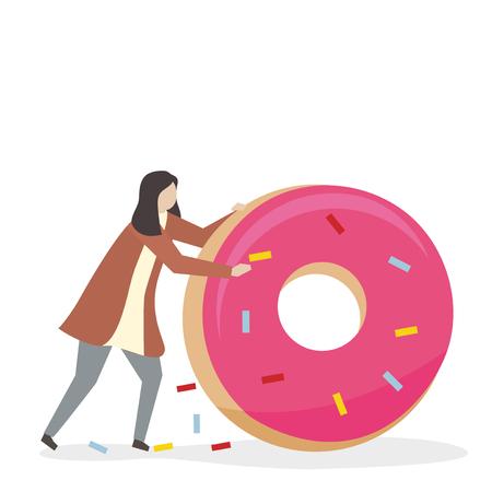 Woman with a donut Archivio Fotografico - 115608340