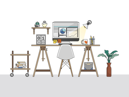 Home office workspace illustration 写真素材