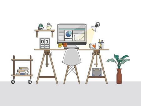 Home office workspace illustration Stok Fotoğraf